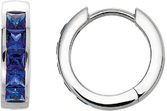 Sterling Silver Chatham Created Blue Sapphire Hoop Earrings