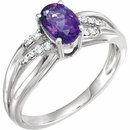 14 Karat White Gold Amethyst & .08 Carat Total Weight Diamond Ring