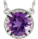Platinum Amethyst and .04 Carat Total Weight Diamond Necklace