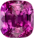Rich Colored Loose Pink Sapphire Gem in Cushion Cut, 7.1 x 6.3 mm, 2.08 carats