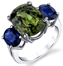 Lovely 18kt White Gold 3-Stone 8.15ct Chrysoberyl Ring with 3.50ctw Oval Sapphire Sidegems