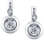 Gorgeous Bezel Set Round Brilliant Cut Diamond Earrings with Smaller Round Diamond Accents - 18kt White Gold