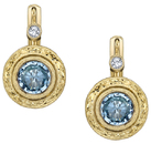 Hand Carved 6mm Round Aquamarine Bezel Set Earrings in 18kt Yellow Gold - White Diamond Accents