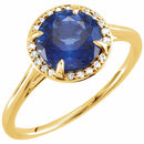 14KT Yellow Gold Chatham Blue Sapphire & .05 Carat Total Weight Diamond Ring