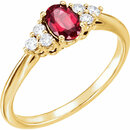 14K Yellow Chatham� Created Ruby & 1/6 CTW Diamond Ring