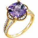 14KT Yellow Gold Amethyst & 3/8 Carat Total Weight Diamond Ring