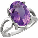 14KT White Gold 14x10mm Oval Amethyst Ring