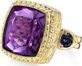 Exquisite Hand Crafted 18kt Yellow Gold Statement Ring With Large 12 carat Cushion Amethyst Gem & Blue Sapphire Side Gems - SOLD
