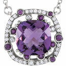 14KT White Gold Amethyst & 1/6 Carat Total Weight Diamond 18