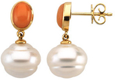 South Sea Cultured Pearl & Coral Earrings