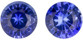 Beautiful Sapphire Well Matched Pair in Round Cut, Vivid Blue, 5 mm, 1.1 carats