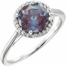 14KT White Gold Chatham Created Alexandrite and .05Carat Total Weight Diamond Ring
