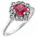 14K White Chatham� Created Ruby & 1/10 CTW Diamond Ring