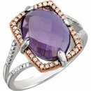 Sterling Silver Rose Gold Plated Amethyst & 1/5 Carat Total Weight Diamond Ring Size 7