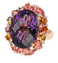 Chic Andrew Sarosi Designer Amethyst Ring in 18kt  Rose Gold set with Multi-Color Toumalines & Diamonds - SOLD