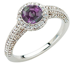 Gorgeous Real Round 0.70 carat 5.20 mm Alexandrite Gemstone set in Classic Diamond Pave Ring in 14 kt white gold for SALE