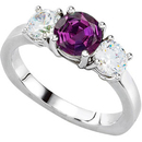 Ultimate in 3-Stone Engagement Ring With Super GEM 5.80 mm Round Real 1 carat Alexandrite Gem & 1ct tw Diamonds