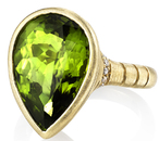 Handcrafted Chic Bezel Set 18kt Yellow Gold Pear Shape 8.4ct Peridot Gemstone Ring - Diamond Accents