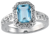 Aquamarine & Diamond Halo-Style Ring