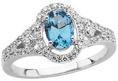 14KT White Gold 1/4 Carat Total Weight Diamond & Aquamarine Ring