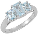 14KT White Gold Aquamarine & .05 Carat Total Weight Diamond Ring