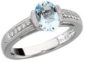 14KT White Gold Aquamarine & 1/10 Carat Total Weight Diamond Ring