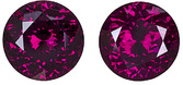 Gorgeous Loose Rhodolite Garnets in Matched Pair, Round Cut, Vivid Raspberry, 11.5 mm, 14.51 carats