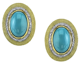 Incredible Italian Hand Made 18kt Yellow Gold Earrings With Bezel Set Oval Turquoise Gems - Diamond Accents