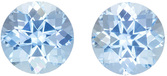 Hard to Find Aquamarine Well Matched Pair in Round Cut, Rich Pure Blue, 7.5 mm, 3.16 carats