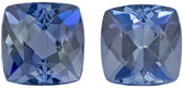 Richest Deep Blue Color in Aquamarine Well Matched Pair in Cushion Cut, 5.8 x 5.8 mm 2.03 carats