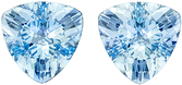 Perfectly Matched Aquamarine Well Matched Pair in Trillion Cut, Vivid Rich Blue, 9.5 mm, 4.87 carats