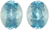 Gorgeous Quality in Bright Fine Blue Oval Aquamarine Pair, 11.00x 8.8mm, 6.33 carats
