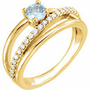 14 Karat Yellow Gold Aquamarine & 1/4 Carat Total Weight Diamond Ring