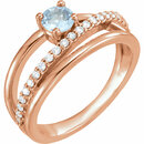 14 Karat Rose Gold Aquamarine & 1/4 Carat Total Weight Diamond Ring