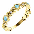 14 Karat Yellow Gold Aquamarine & .03 Carat Total Weight Diamond Leaf Ring
