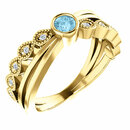 14 Karat Yellow Gold Aquamarine & .05 Carat Total Weight Diamond Ring