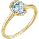 14 Karat Yellow Gold Aquamarine & .06 Carat Total Weight Diamond Ring