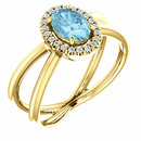 14 Karat Yellow Gold Aquamarine & 1/10 Carat Total Weight Diamond Ring