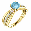 14 Karat Yellow Gold Aquamarine & 1/6 Carat Total Weight Diamond Ring