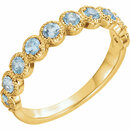 14 Karat Yellow Gold Aquamarine Beaded Ring