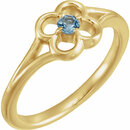14 Karat Yellow Gold Aquamarine Flower Youth Ring
