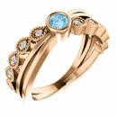 14 Karat Rose Gold Aquamarine & .05 Carat Total Weight Diamond Ring