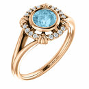 14 Karat Rose Gold Aquamarine & .08 Carat Total Weight Diamond Ring