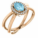 14 Karat Rose Gold Aquamarine & 1/10 Carat Total Weight Diamond Ring