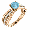 14 Karat Rose Gold Aquamarine & 1/6 Carat Total Weight Diamond Ring