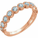 14 Karat Rose Gold Aquamarine Beaded Ring