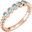 14 Karat Rose Gold Aquamarine Bezel Set Beaded Ring