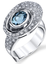 Fabulous 1.41 ct Oval Aquamarine Ring with Pave Diamond Detail - 14kt White Gold