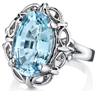 Vintage Style 14x9mm Oval Cut Aquamarine Handmade Ring in 14kt White Gold