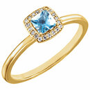 14KT Yellow Gold Aquamarine & .05 Carat Total Weight Diamond Ring